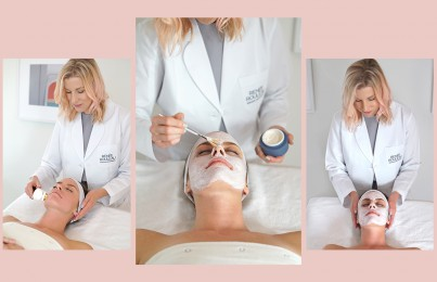 Celebrity esthetician Renée Rouleau gives female client with acne a facial