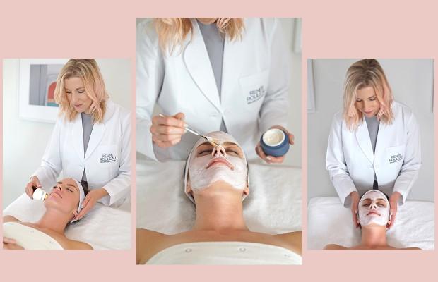 Celebrity esthetician Renée Rouleau gives female client with acne a facial