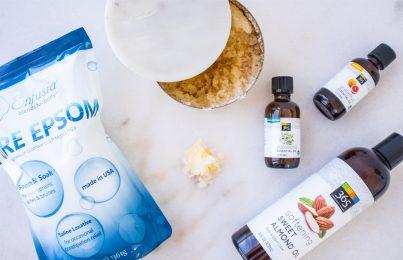 ingredients for DIY hand body scrub