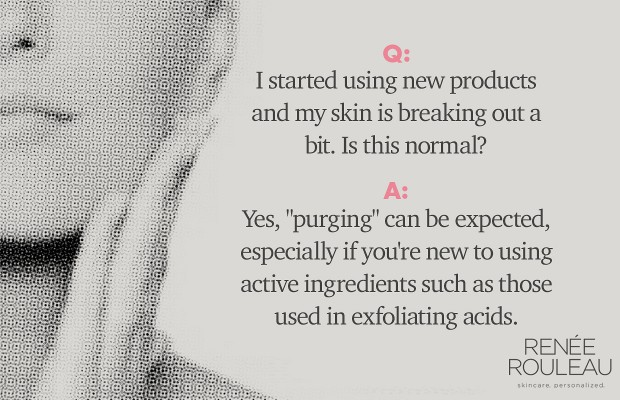 Woman asking if skin purging is normal with new products