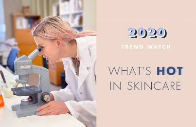 Celebrity esthetician Renée Rouleau looking into a microscope for 2020 skincare trends