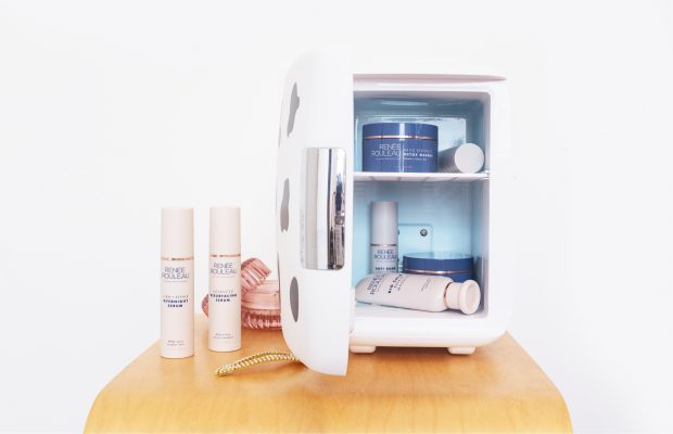 Mini skincare fridge with Renée Rouleau products