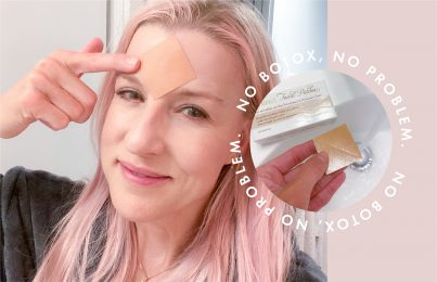 Renée Rouleau wearing patch Botox alternative