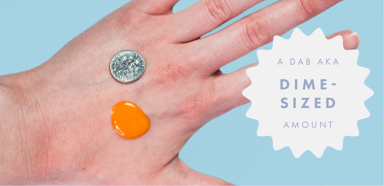A hand showing serum next to a dime