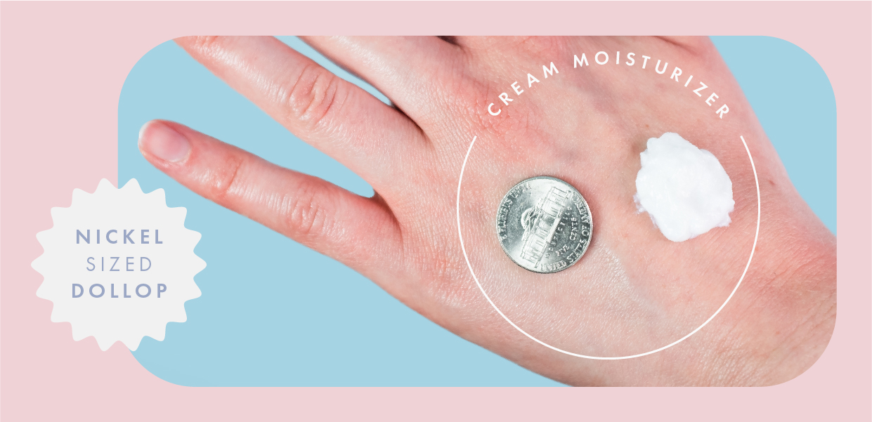 Face cream next to a nickel on the back of a hand