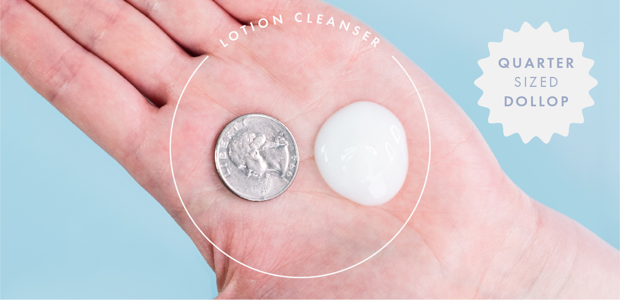 hand demonstrating lotion cleanser next to quarter