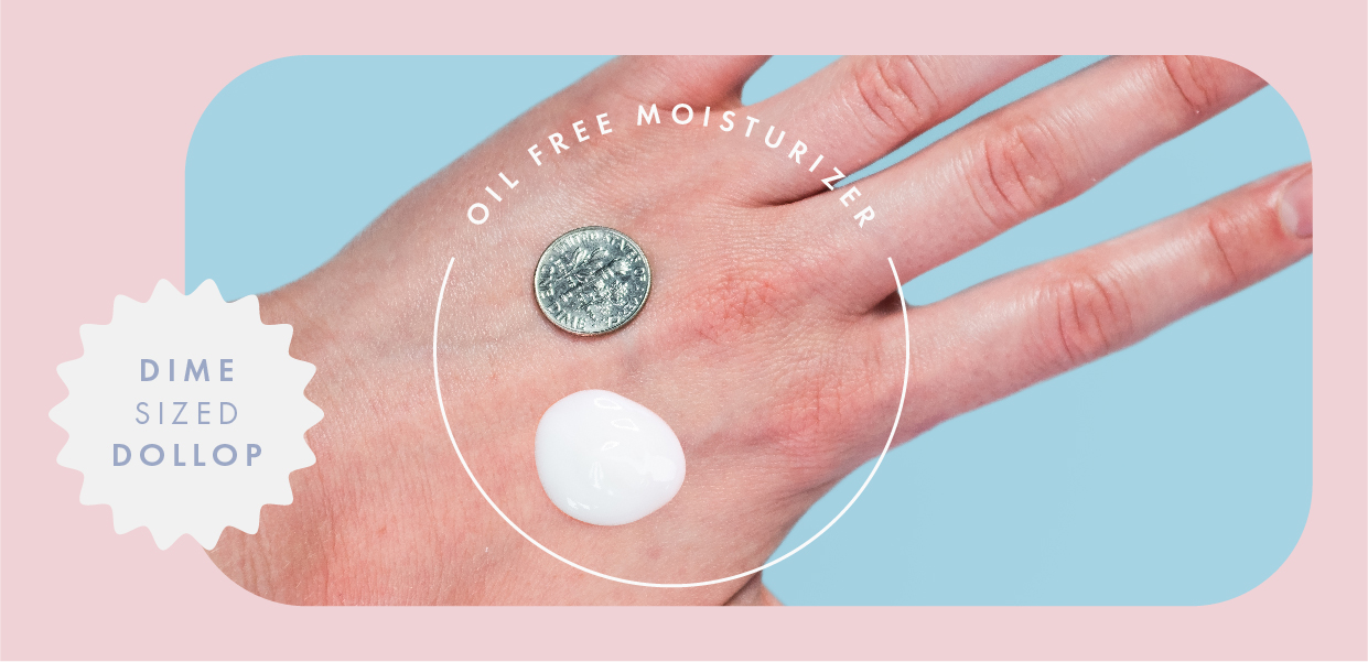 oil-free lotion next to a dime on the back of a hand
