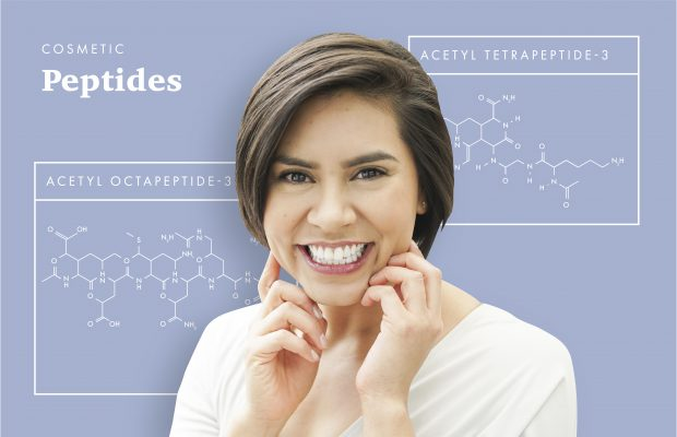 chemical structure of two peptides used in skincare with woman smiling
