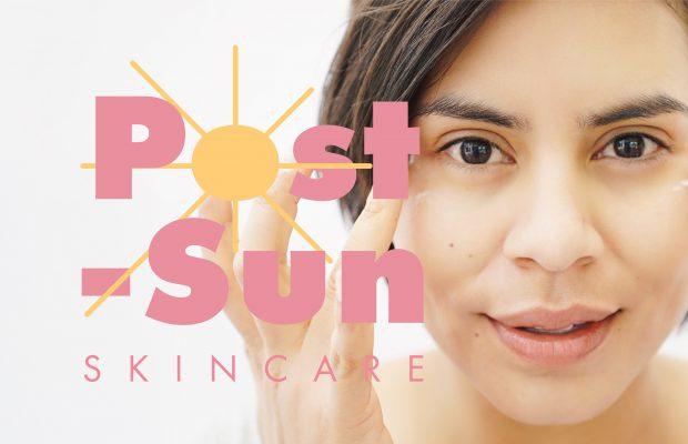 Post-sun skincare text and a woman applying eye gel
