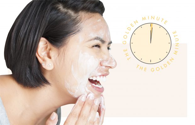 woman washing face with clock showing one minute passing